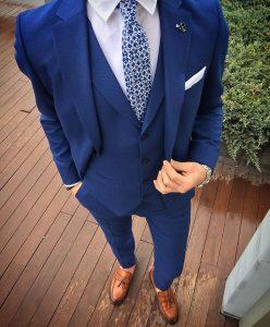 11 Moderate Blue Four Button Suit Vest