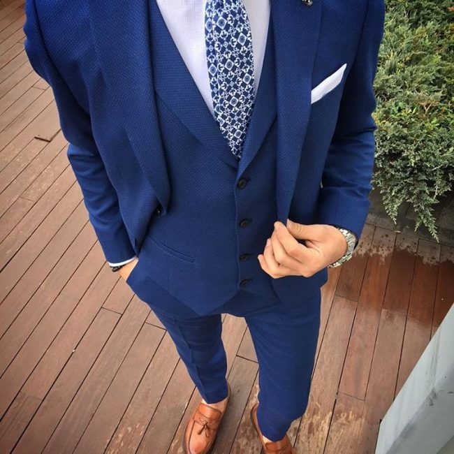 11 Moderate Blue Four Button Suit Vest