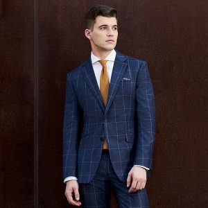 12 Blue-Checkered Double-Buttoned Suit