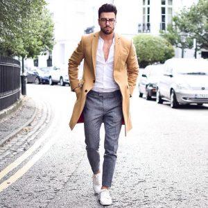 12 Gray Wool Pants & Brown Wool Overcoat
