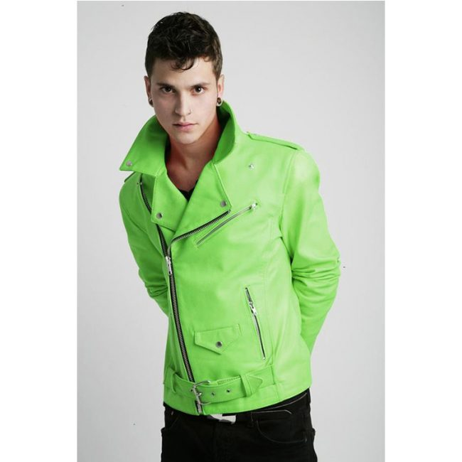 12 Green Neon Leather Coat with Jeans