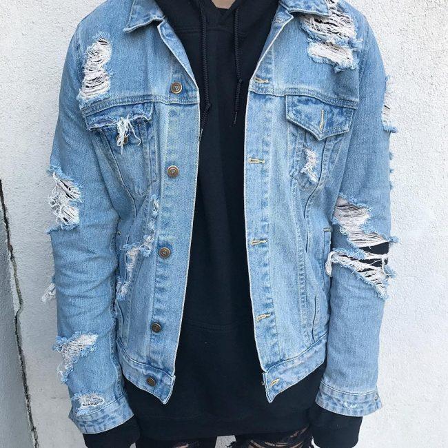12 Ripped Denim Jacket with Hoodie