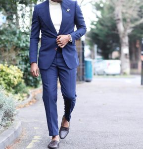13 Fitted Lapis-Blue Ticket Pocket Suit