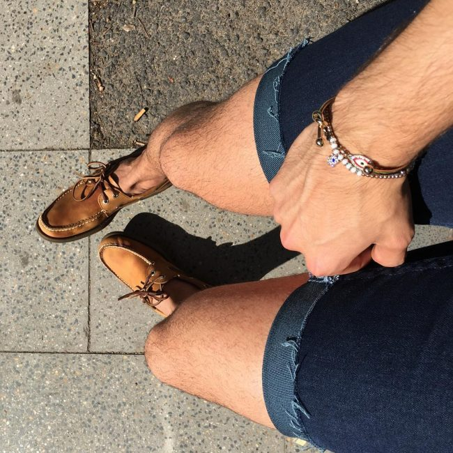 13 Light Brown Shoes and Dark Denim Shorts