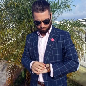 13 Royal Blue Checkered Single Button Suit