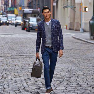 13 Royal Blue Jeans Pants & Blue-White Checkered Blazer