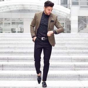 13 Royal Blue Pants & Brown Fitted Blazer