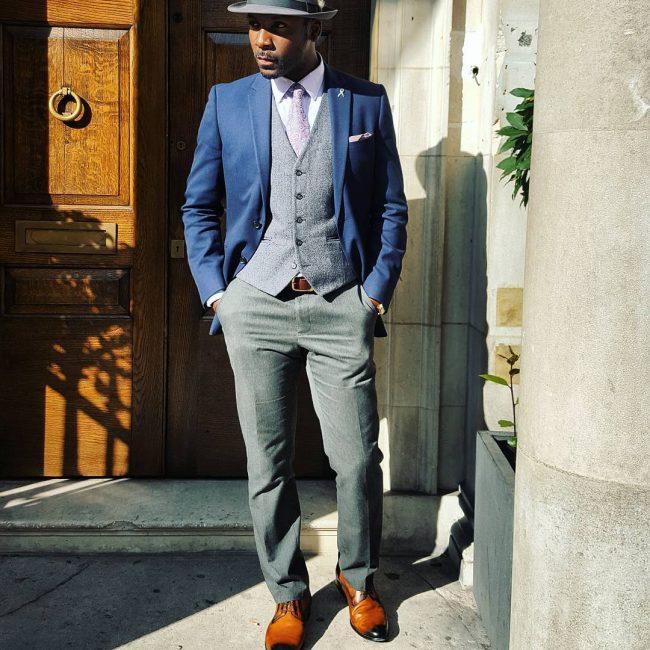 14 Brown Suit Pants & Brown Plain Toe Derby Shoes