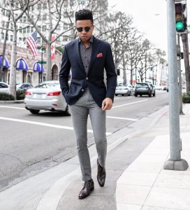 14 Gray Pants & Navy Blue Fitted Suit Coat