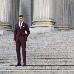 14 Maroon Single Vent Custom Suit