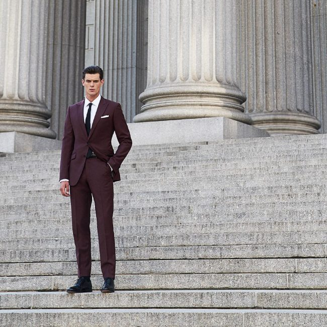 14 Maroon Single Vent Custom Suit
