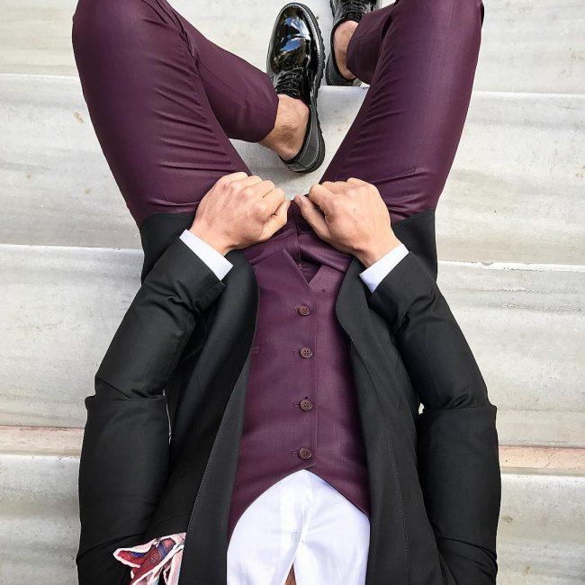 14 Maroon Suit Vest & a Black Blazer