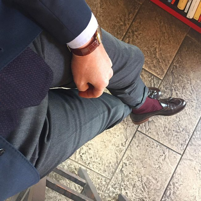 15 Fitted Gray Suit Pants & Brown Kiltie Loafers