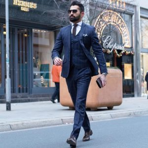 15 Fitted Royal Blue 3-Piece Suit & Brown Derby Shoes