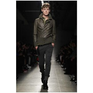 15 Pigment Green Leather Coat with Black Jeans