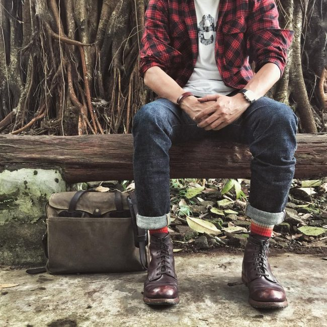 15 Plaid Shirt with Selvedge and Red Wings Boots