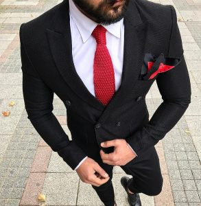 16 Black Double Breasted Suit