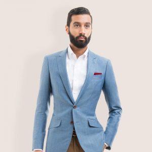 16 Bronze Yellow Pants and Light Blue Blazer Suit