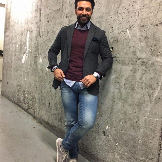 16 Dark Sweater Vest & Faded Blue Jeans Pants