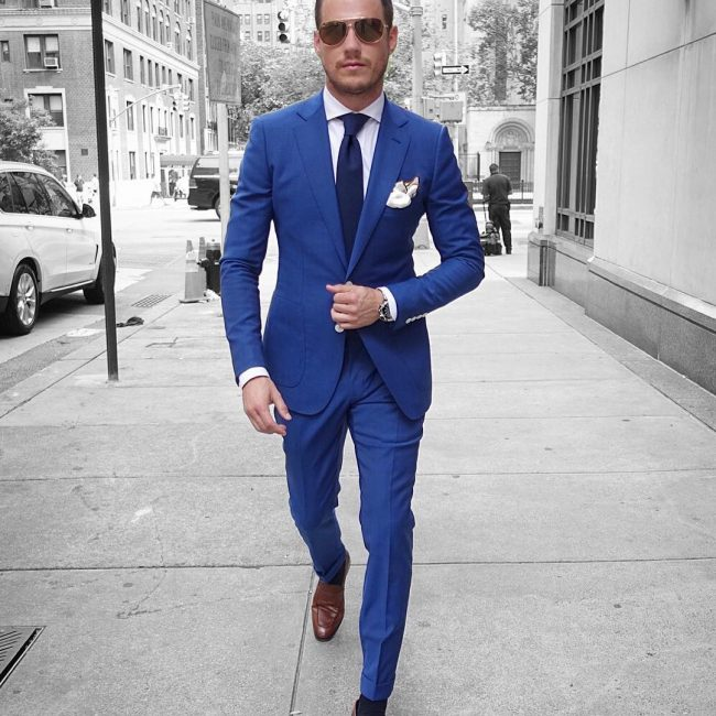 16 Fitted Royal Blue Suit & Brown Loafers