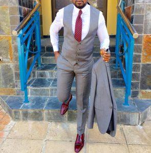 16 Gray Four Button Tux Suit Vest Hybrid