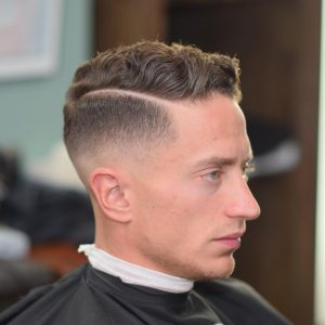 16 Natural Textured Pomp with Tapered Fade