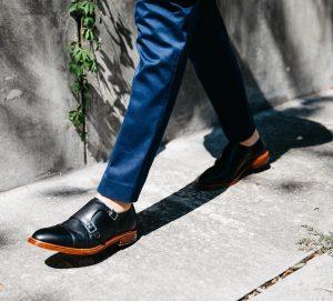 17 Black Double Strap Black Monk Shoes