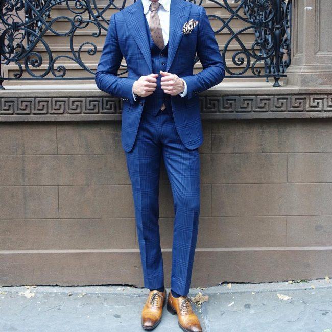 17 Designer Plaid Royal Blue 3-Piece Suit