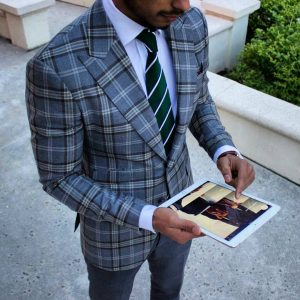 17 Grey-Blue Checkered Blazer