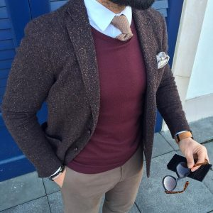 17 Maroon Sweater Vest & Grey Tweed Blazer