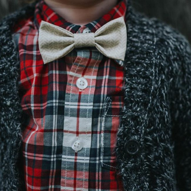 17 Red Checked Shirt & Grey Cardigan Sweater