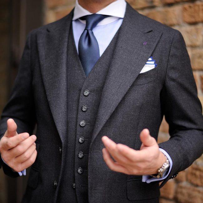 17 Three Piece with a Blue Tie