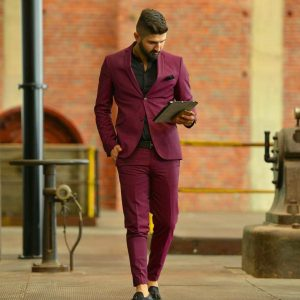 17 Two Button Maroon Suit