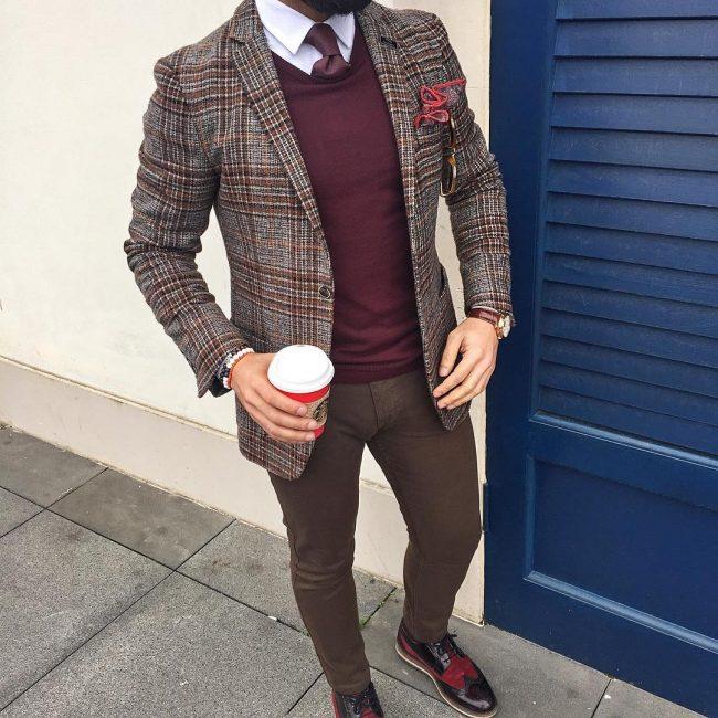 18 A Sweater Vest & Checkered Tweed Blazer