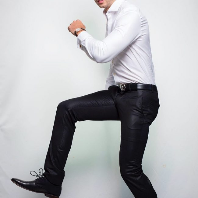 18 Black Pants & White Fitted Shirt
