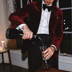 18 Black Velvet Suit Pants & Single Button Red Velvet Suit Coat