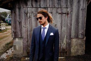 18 Blue Checkered Tie & Blue 3-Piece Suit