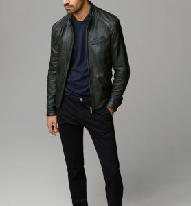 18 Cute Leather Jacket with Mandarin Collar