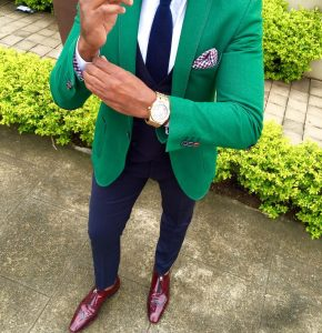18 Fitted Royal Blue Pants & Fitted Single-Button Green Blazer
