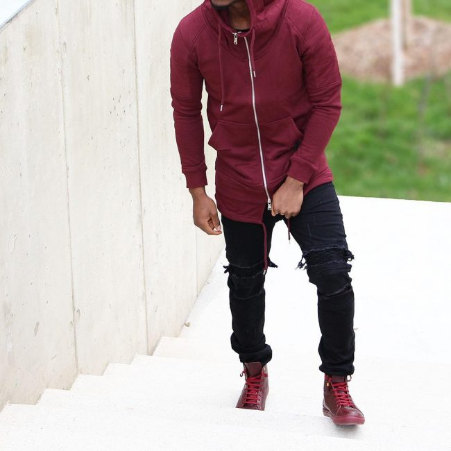 18 Fitting Burgundy Hoodie with Double Drawstrings