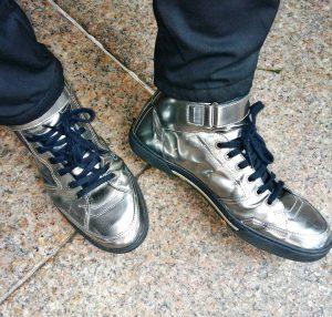 18 Metallic Silver Hi-Tops