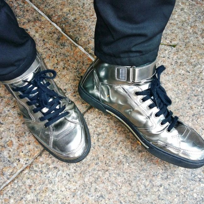 18 Metallic Silver Hi-Tops