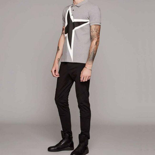 19 Black Pants & Gray Printed Polo Shirt