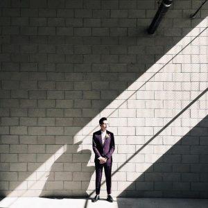 19 Eggplant Suit with Mandarin Collar Shirt