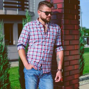 19 Fitted Blue Checked Shirt & Blue Jeans