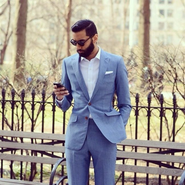 19 Fitted Light Blue Linen Custom Suit