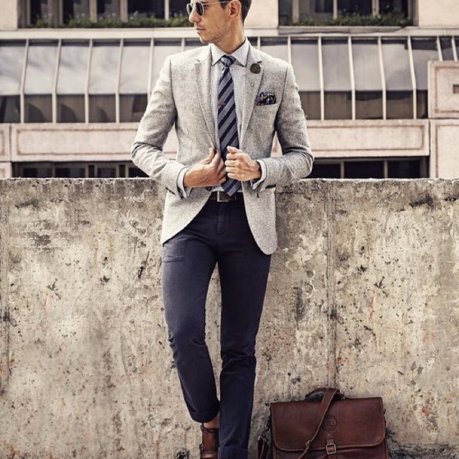 19 Grey Fitted Blazer & Fitted Navy Blue Pants