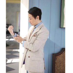 19 Light Beige Double Breasted Suit