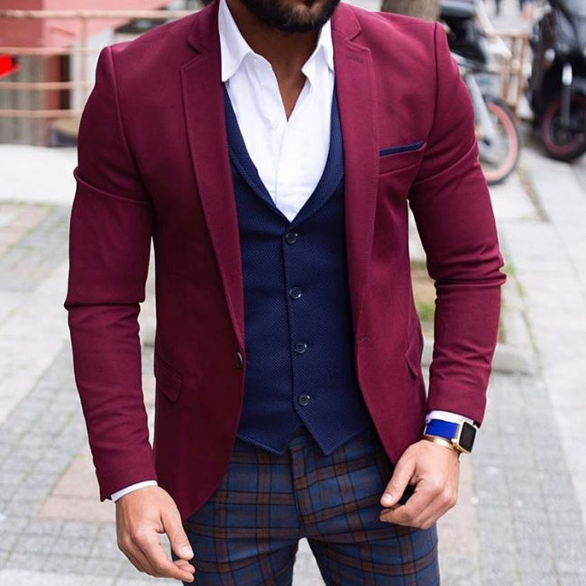 19 Navy Blue Vest and Maroon Jacket Combo
