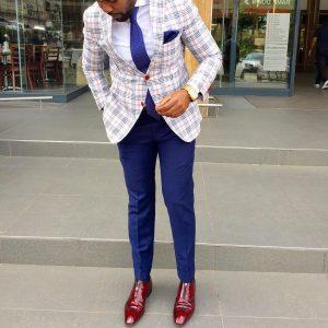19 Royal Blue Fitted Pants & Cream White Plaid Blazer
